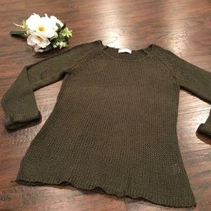 Altar'd State   green knit sweater w cuffed sleeve